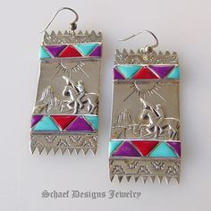 ★ ✯✦⊱♔ ❤️ ♔⊰✦✯ ★ Artist signed Native American Zuni Sugilite, Turquoise, Coral  Sterling Dilver Indian Rug Earrings ★ ✯✦⊱♔ ❤️ ♔⊰✦✯ ★