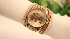 Elephant Quartz Multilayer Leather Rivets Bracelet Watches
