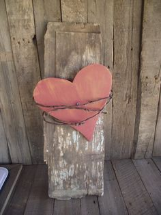 Love Red Wood Heart And Barbed Wire