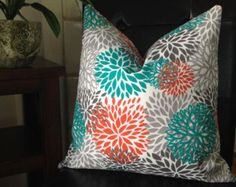 Pillow or Cover. Burnt Orange, Teal, and Grey Floral indoor/door Fabric