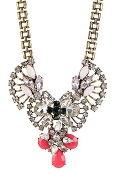 Luxe Brooch Crystal & Neon Necklace from HauteLook on shop.CatalogSpree.com, your personal digital mall.