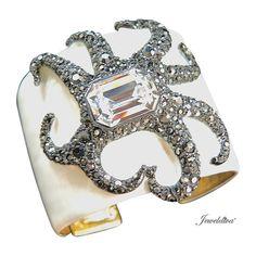 Signed Kenneth Jay Lane Enamel & Rhinestone Octopus Cuff Bracelet