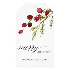 Shop Greenery Red Berries Holiday Gift Tags created by cardsbyflora. Watercolor Christmas Cards, Christmas Drawing, Diy Christmas Cards, Christmas Paintings, Xmas Cards, Christmas Art, Christmas Holidays, Happy Holidays, Christmas Greenery
