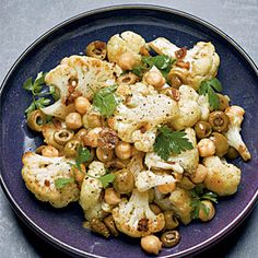 Roasted Cauliflower, Chickpeas, and Olives - this is in the oven right now.