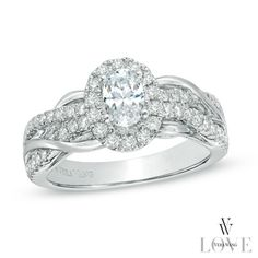 Vera Wang LOVE Collection 1 CT. T.W. Oval Diamond Loose Braid Engagement Ring in 14K White Gold...I want this but square setting and round diamond!