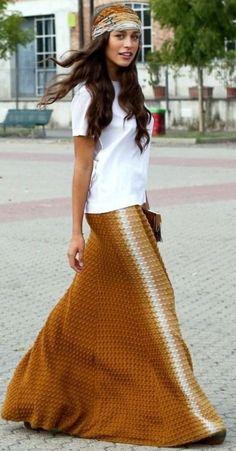 Structured Camel Floor Length Skirt