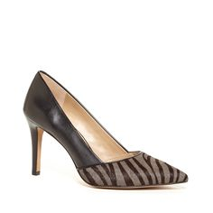 Women's Grey Black Haircalf 3 1/4 Inch Pointed Toe Pump | Dianna by Sole Society