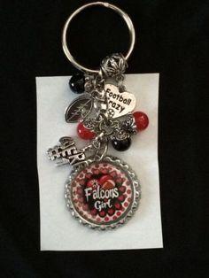 Atlanta Falcons Inspired Bottle Cap Keychain Handmade Falcons Key Chain