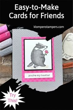 Need card ideas for your best friend? This simple card layout is one you'll use a lot! This card also uses Stampin' Blends which are my favorite alcohol markers. I've got the quick and easy tutorial for you. Follow me for more ideas! Cards For Friends, Friends Gif, National Friendship Day, Alcohol Markers, Friendship Cards, Animal Cards, Card Sketches, Card Tags, Cool Cards