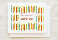 Cute Birthday Card - Candles - Unique birthday card For him For her Best friend…