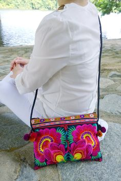 *SALE ITEM   A Hmong Style Crossbody Bag with Traditional Tribal Embroidery. This Bag exhibits brilliant colours with unique embroidered patterns.