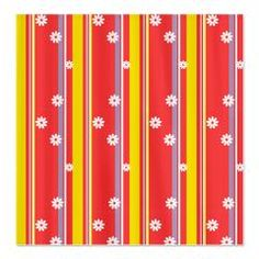 For the home - Flowers and Stripes Fabric Shower Curtain
