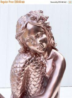 SALE Large Rose Gold Mermaid Statue  Mermaid by PenelopeMayDecor