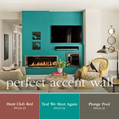 Inspiration for a Perfect Accent Wall Paint Color! Hunt Club Red, Teal We Meet Again bold teal, and Plunge Pool gray are great paint color hues to use for a pop of color in a space. Explore these paint colors by PPG Voice of Color at http://www.ppgvoiceofcolor.com/digital-color/paint-colors