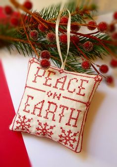 Peace On Earth Folk Art Christmas Ornament.