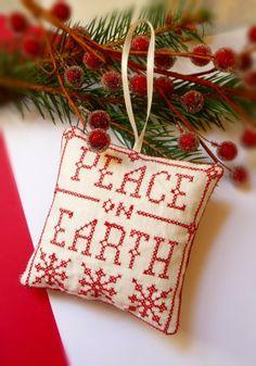 Peace On Earth Folk Art Christmas Ornament.
