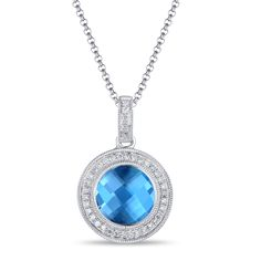 Luvente Blue Topaz & Diamond Necklace available Michael Herr Diamonds & Fine Jewelry. Visit our St. Louis area store or contact us to order.