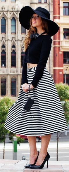 #spring #street #style #stripe #outfitideas | Black Crop Top + Black And White A-line Full Striped Skirt | Friend In Fashion