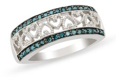 Stunning high quality blue cz's micro pave set in a black rhodium plated finish to enhance the beaded heart design in the center.  Would make a fabulous wedding band. Very delicate ring - not big or bulky  *Custom sizes on special order - Just message us!  This is from our custom designed collection