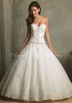Tulle A-Line Ball Gown Strapless Sweetheart Floor Length Beading Embroidery Wedding Dress Style WD63406 at Angelweddingdress