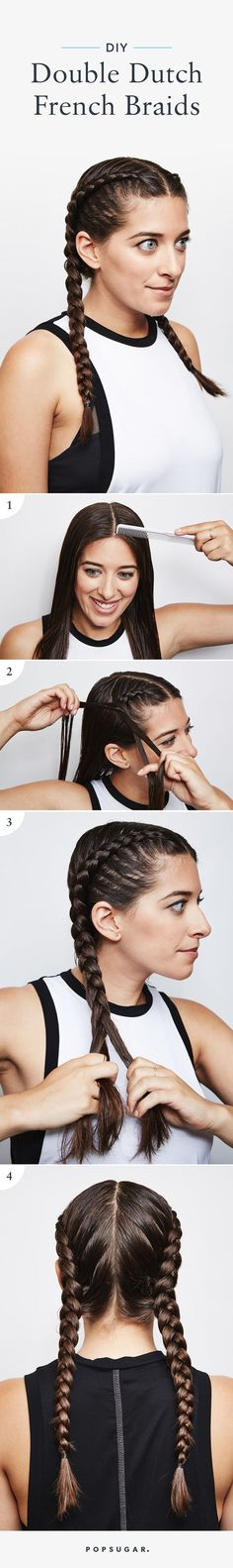 Double French Braids for your next gym visit. - Fitness is life, fitness is BAE! <3 Tap the pin now to discover 3D Print Fitness Leggings from super hero leggings, gym leggings, fitness, leggings, and more that will make you scream YASS!!!