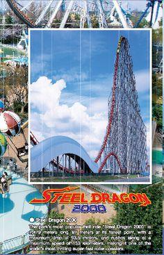 The Steel Dragon 2000 at Nagashima Spa Land in Nagashima, Japan. Fastest Roller Coaster, Roller Coasters, Water Slides, Spa, Dragon, Steel, World, Roller Coaster, Dragons