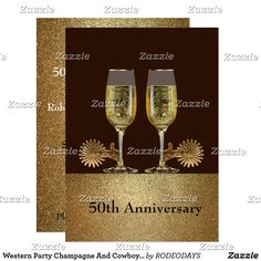Western Party Champagne And Cowboy Hat Custom party invitation
