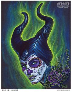 Sugar Sin - Maleficent - Print by Monica RavenWolf Dark Disney, Disney Love, Disney Art, Deviant Art, Maquillage Sugar Skull, Sugar Skull Art, Sugar Skulls, Pink Skull, Alternative Disney