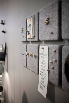 Felt memo boards. with cork underneath they could be a great diy project.