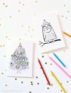 Christmas cards to color in! Free printable from Mr.printables