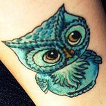 Girly New School Owl Tattoo Bird tattoo gallery