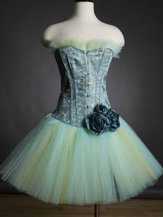 Blue and yellow tulle Burlesque Corset dress