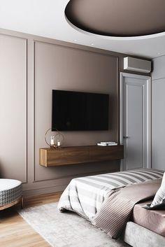 Bedroom Bed Design, Modern Bedroom Design, Home Room Design, Home Decor Bedroom, Home Interior Design, Bedroom Tv, Bedroom With Tv, Bedroom Ideas, Contemporary Bedroom