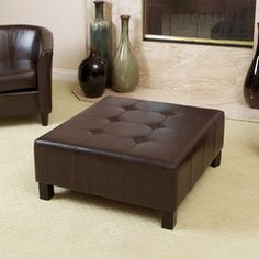 Lexington Chocolate Brown Tufted Leather Ottoman Coffee Table Chair