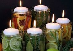 Natural Room Scent Jars for DIY Gifts and Centerpieces. Get your mason jars and floating candles ready for this! Mason Jar Crafts, Mason Jars, Candle Jars, Diy Jars, Candle Holders, Room Scents, Do It Yourself Inspiration, Ideias Diy, Diy Candles