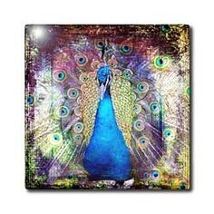 Cassie Peters Birds - Peacock Grunge Digital Art by Angelandspot - Tiles - 4 Inch Ceramic Tile by 3dRose, http://www.amazon.com/dp/B00DD79SHI/ref=cm_sw_r_pi_dp_hKV-rb1905C42