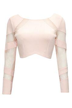 Blush mesh detail crop top by Bhaavya Bhatnagar. Crop Top Designs, Sari Blouse Designs, Saree Jacket Designs, Stylish Blouse Design, Crop Top Outfits, Beautiful Blouses, Types Of Fashion Styles, Indian Fashion, Designer Dresses