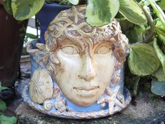 Ceramic Face Planter Ocean Seashell Starfish by MyMothersGarden, $108.00