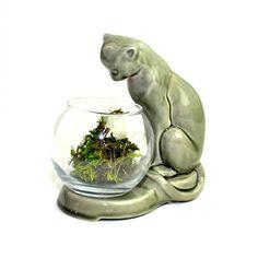 Cat Fish Bowl или Террариум Пьедестал - Большой Hunter Green глазурованной керамической Cat по стакану Fishbowl - Урожай Декор, Mid Century - $41.95!