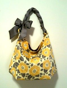 Hobo tote bag in yellow and grey