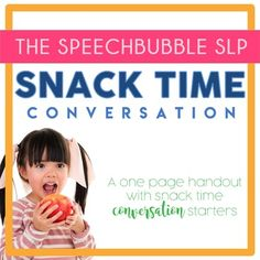 This Snack Time Conversation Handout is perfect for speech therapists or special education teachers who need conversations starters during snack or break time!  Printable and easy to use, check out this FREE digital download! #FREEBIE #conversation #communication #language #SLP #OT #student #classroom #prompts