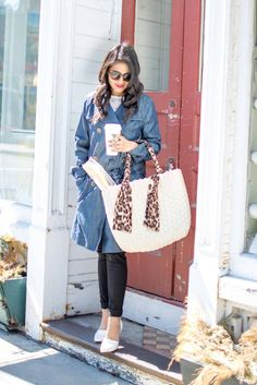 Denim Trench Coat - JC Penny Trench Coat-Denim Trench--Lace Top, Distressed Jeans-Basket Tote, White Pumps, Petite, Spring OOTD-NehaGandhi-StreetStyle-LovePlayingDressup -5