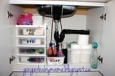 Small bathroom organizing, under the sink drawers