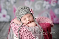 Grey and Pink Baby Hat Photo Prop Crochet by PBlossomBoutique, $32.00   Must have this newborn hat!