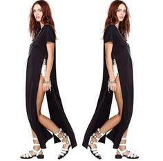 ca7c6bb5d05d Celebrity Sexy Women Shirt Dress High Side Splits Maxi Long Dress... ($23