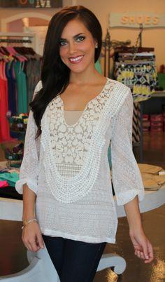 Dottie Couture Boutique - White Crochet Top, $40.00 (http://www.dottiecouture.com/white-crochet-top/)