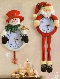 I would love to put this in each of my kids room - great family project -- Christmas Crafts Más Christmas Clock, Christmas Sewing, Christmas Holidays, Christmas Ornaments, Christmas Wreaths, Homemade Christmas Tree Decorations, Xmas Decorations, Christmas Projects, Holiday Crafts