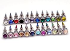 wholesale mixed 24colors spike illusion earrings 240pcs crystal stone fake plug cheater earring free shipping body jewelry
