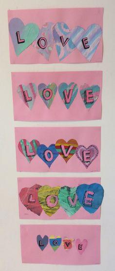 Happy Valentine! Sanomalehti, pulloväri, tussi, väripaperi