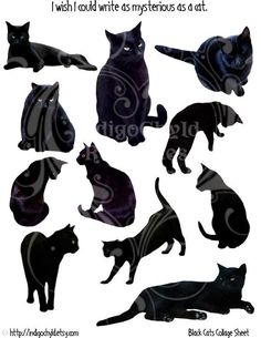 Black Cats Digital Collage Sheet JPG by indigochyld on Etsy, $2.50